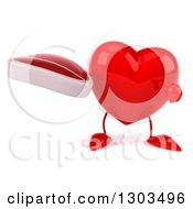 Clipart Of A 3d Heart Character Holding And Pointing To A Beef Steak Royalty Free Illustration