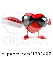 Clipart Of A 3d Heart Character Wearing Sunglasses Giving A Thumb Up And Holding A Beef Steak Royalty Free Illustration