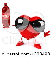 Clipart Of A 3d Heart Character Wearing Sunglasses Shrugging And Holding A Soda Bottle Royalty Free Illustration