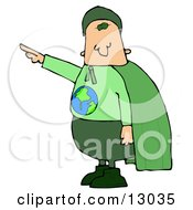 Environmentalist Man Wearing A Green Cape And Uniform With The Globe On His Shirt Clipart Illustration