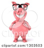Clipart Of A 3d Happy Bespectacled Pig Standing Upright Royalty Free Illustration by Julos