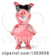 Clipart Of A 3d Happy Pig Wearing Sunglasses And Standing Upright Royalty Free Illustration