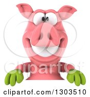 Clipart Of A 3d Happy Gardener Pig Smiling Over A Sign Royalty Free Illustration