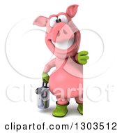 Clipart Of A 3d Full Length Happy Gardener Pig Holding A Watering Can And Looking Around A Sign Royalty Free Illustration