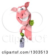 Clipart Of A 3d Happy Gardener Pig Holding A Watering Can And Looking Around A Sign Royalty Free Illustration