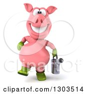 Clipart Of A 3d Happy Gardener Pig Walking With A Watering Can Royalty Free Illustration