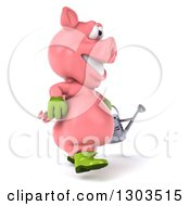 Clipart Of A 3d Happy Gardener Pig Walking To The Right With A Watering Can Royalty Free Illustration