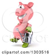 Clipart Of A 3d Happy Gardener Pig Walking To The Left With A Watering Can Royalty Free Illustration by Julos