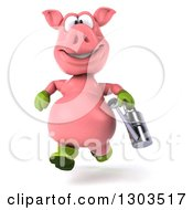 Clipart Of A 3d Happy Gardener Pig Running With A Watering Can Royalty Free Illustration