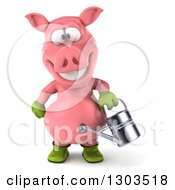 Clipart Of A 3d Happy Gardener Pig Using A Watering Can Royalty Free Illustration by Julos