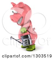 Clipart Of A 3d Happy Gardener Pig Facing Left And Using A Watering Can Royalty Free Illustration