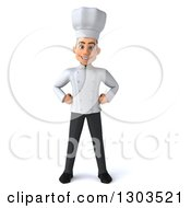Clipart Of A 3d Young White Male Chef Standing With Hands On His Hips Royalty Free Illustration by Julos