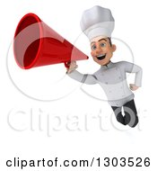 Clipart Of A 3d Young White Super Male Chef Flying And Announcing With A Megaphone Royalty Free Illustration