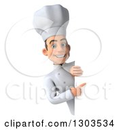 Clipart Of A 3d Young White Male Chef Smiling And Pointing Around A Sign Royalty Free Illustration