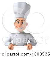 Clipart Of A 3d Young White Male Chef Smiling Over A Sign Royalty Free Illustration