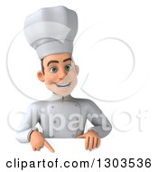 Clipart Of A 3d Young White Male Chef Smiling And Pointing Down Over A Sign Royalty Free Illustration