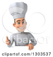 Clipart Of A 3d Happy Young White Male Chef Giving A Thumb Up Over A Sign Royalty Free Illustration