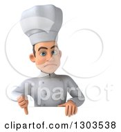 Clipart Of A 3d Unhappy Young White Male Chef Giving A Thumb Down Over A Sign Royalty Free Illustration