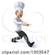 Clipart Of A 3d Young White Male Chef Walking And Pointing To The Right Royalty Free Illustration