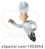 Clipart Of A 3d Young White Male Super Chef Flying 2 Royalty Free Illustration