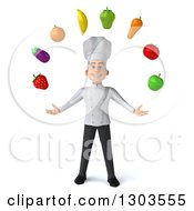Clipart Of A 3d Young White Male Chef Juggling Produce Royalty Free Illustration by Julos