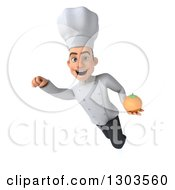 Clipart Of A 3d Young White Male Super Chef Flying And Holding A Navel Orange Royalty Free Illustration