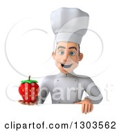 Clipart Of A 3d Young White Male Chef Holding A Strawberry Over A Sign Royalty Free Illustration
