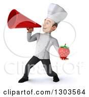 Clipart Of A 3d Young White Male Chef Holding A Strawberry And Announcing With A Megaphone Royalty Free Illustration
