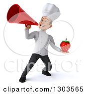 Clipart Of A 3d Young White Male Chef Holding A Strawberry And Announcing With A Bullhorn Royalty Free Illustration