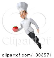 Clipart Of A 3d Young White Male Super Chef Flying And Holding A Tomato Royalty Free Illustration