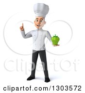 Clipart Of A 3d Young White Male Chef Holding Up A Finger And A Green Bell Pepper Royalty Free Illustration