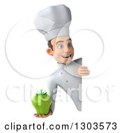 Clipart Of A 3d Young White Male Chef Holding A Green Bell Pepper Around A Sign Royalty Free Illustration