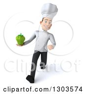 Clipart Of A 3d Young White Male Chef Holding A Green Bell Pepper And Walking Royalty Free Illustration