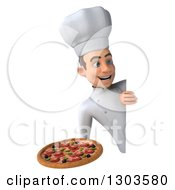 Clipart Of A 3d Young White Male Chef Holding A Pizza Around A Sign Royalty Free Illustration