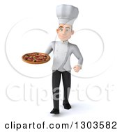 Clipart Of A 3d Young White Male Chef Walking With A Pizza Royalty Free Illustration