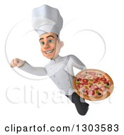 Clipart Of A 3d Young White Male Super Chef Flying With A Pizza Royalty Free Illustration