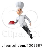 Clipart Of A 3d Young White Male Super Chef Flying And Holding A Beef Steak Royalty Free Illustration
