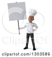 3d Young Black Male Chef Holding A Blank Sign