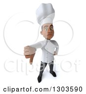 3d Unhappy Young Black Male Chef Holding Up A Thumb Down