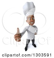 3d Happy Young Black Male Chef Holding A Thumb Up