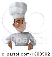 Clipart Of A 3d Unhappy Young Black Male Chef Holding A Thumb Down Over A Sign Royalty Free Illustration