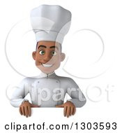 Clipart Of A 3d Young Black Male Chef Smiling Over A Sign Royalty Free Illustration