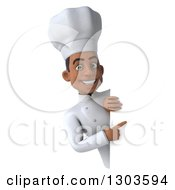 Clipart Of A 3d Young Black Male Chef Pointing Around A Sign Royalty Free Illustration