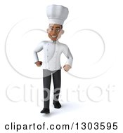 3d Young Black Male Chef Walking