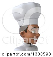 Clipart Of A 3d Happy Young Black Male Chef Avatar Facing Right Royalty Free Illustration