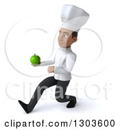 3d Young Black Male Chef Walking To The Left And Holding A Green Apple