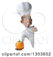 3d Young Black Male Chef Holding A Navel Orange Around A Sign