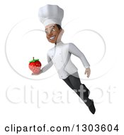 Clipart Of A 3d Young Black Male Chef Flying Facing Left And Holding A Strawberry Royalty Free Illustration