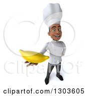 3d Young Black Male Chef Holding Up A Banana