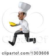 3d Young Black Male Chef Sprinting To The Left And Holding A Banana
